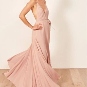 Pink callalilly v neck maxi dress from Reformation